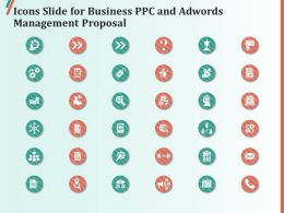 Icons Slide For Business PPC And AdWords Management Proposal Ppt Clipart