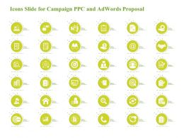 Icons Slide For Campaign PPC And Adwords Proposal Ppt Styles Backgrounds