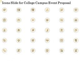 Icons Slide For College Campus Event Proposal Ppt Powerpoint Presentation Icon Clipart