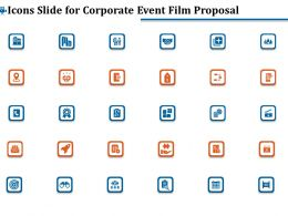 Icons Slide For Corporate Event Film Proposal Ppt Ideas