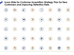 Icons Slide For Customer Acquisition Strategy Plan For New Customers And Improving Retention Rate Ppt File Formats