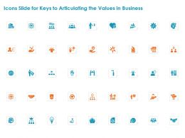 Icons Slide For Keys To Articulating The Values In Business Ppt Powerpoint Presentation Gallery Grid