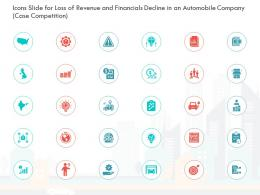 Icons Slide For Loss Of Revenue And Financials Decline In An Automobile Company Case Competition Ppt Aids