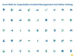Icons Slide For Organization Incident Management And Safety Training