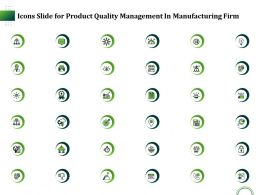 Icons Slide For Product Quality Management In Manufacturing Firm Ppt Styles Ideas