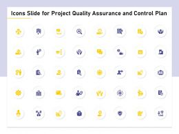 Icons Slide For Project Quality Assurance And Control Plan Ppt Powerpoint Presentation File Guide