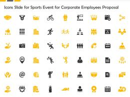Icons Slide For Sports Event For Corporate Employees Proposal Ppt Slides Maker