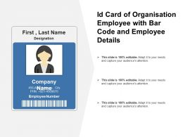 Id Card Of Organisation Employee With Bar Code And Employee Details