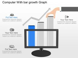 id Computer With Bar Growth Graph Powerpoint Template