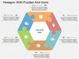 id Hexagon With Puzzles And Icons Flat Powerpoint Design