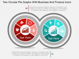 id_two_circular_pie_graphs_with_business_and_finance_icons_flat_powerpoint_design_Slide01