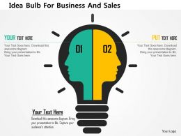 Idea Bulb For Business And Sales Flat Powerpoint Design