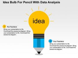 Idea Bulb For Pencil With Data Analysis Flat Powerpoint Design