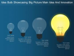 Idea Bulb Showcasing Big Picture Main Idea And Innovation