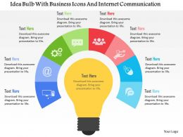 Idea Bulb With Business Icons And Internet Communication Flat Powerpoint Design