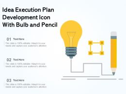 Idea Execution Plan Development Icon With Bulb And Pencil