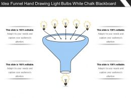 Idea Funnel Hand Drawing Light Bulbs White Chalk Blackboard
