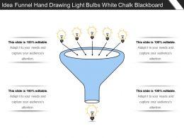 Idea Funnel Hand Drawing Light Bulbs White Chalk Blackboard