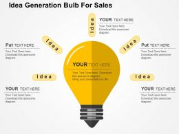 Idea Generation Bulb For Sales Flat Powerpoint Design