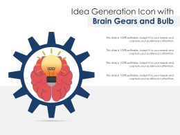 Idea Generation Icon With Brain Gears And Bulb