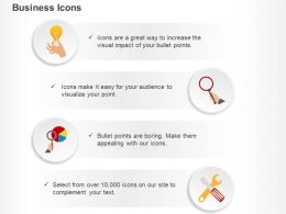 idea_generation_magnifier_pie_chart_tools_ppt_icons_graphics_Slide01