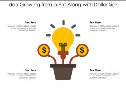 Idea Growing From A Pot Along With Dollar Sign