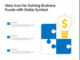 Idea Icon For Solving Business Puzzle With Dollar Symbol