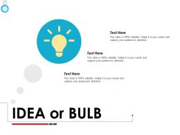 Idea Or Bulb Ppt Powerpoint Presentation File Demonstration