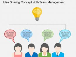Idea Sharing Concept With Team Management Flat Powerpoint Design