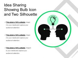 Idea Sharing Showing Bulb Icon And Two Silhouette