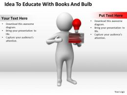 Idea To Educate With Books And Bulb Ppt Graphics Icons Powerpoint