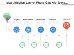 Idea Validation Launch Phase Gate With Icons And Boxes