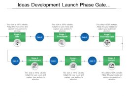 Ideas Development Launch Phase Gate With Boxes And Icons