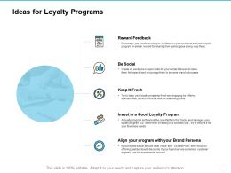 Ideas For Loyalty Programs Reward Feedback Ppt Powerpoint Presentation Show Templates