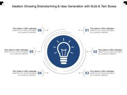 Ideation Showing Brainstorming And Idea Generation With Bulb And Text Boxes