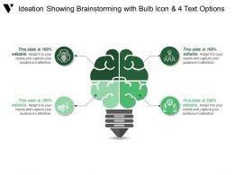 Ideation Showing Brainstorming With Bulb Icon And 4 Text Options