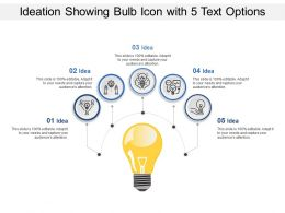 Ideation Showing Bulb Icon With 5 Text Options