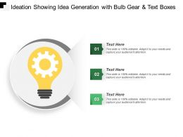 Ideation Showing Idea Generation With Bulb Gear And Text Boxes