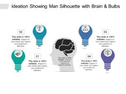Ideation Showing Man Silhouette With Brain And Bulbs