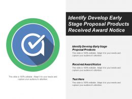 Identify Develop Early Stage Proposal Products Received Award Notice