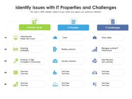 Identify Issues With It Properties And Challenges