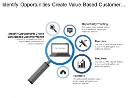 Identify Opportunities Create Value Based Customer Needs Opportunity Tracking