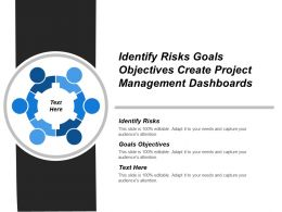 Identify Risks Goals Objectives Create Project Management Dashboards