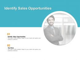 Identify Sales Opportunities Ppt Powerpoint Presentation Design Ideas Cpb