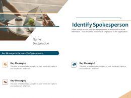 Identify Spokesperson Key Messages Ppt Powerpoint Presentation Themes
