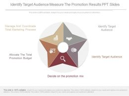 Identify Target Audience Measure The Promotion Results Ppt Slides