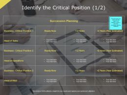 Identify The Critical Position Succession Planning Ppt Powerpoint Presentation Inspiration Good