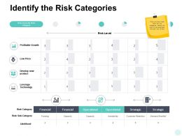 Identify The Risk Categories Financial Strategic Ppt Powerpoint Presentation Model