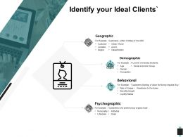 Identify Your Ideal Clients Geographic Demographic Ppt Powerpoint Presentation Outline Icon