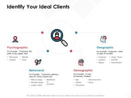 Identify Your Ideal Clients Psychographic Demographic Ppt Powerpoint Presentation Professional Backgrounds
